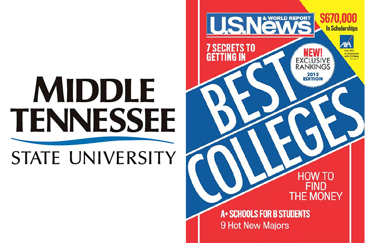 """MTSU wordmark alongside the cover of the Sept. 12, 2012, U.S. News & World Report, featuring its 2013 """"Best Colleges"""" list, which included MTSU in its """"Best National Universities"""" ranking"""