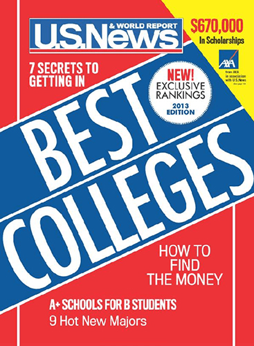 """cover of Sept. 12, 2012, U.S. News & World Report, featuring its 2013 """"Best Colleges"""" list, which included MTSU in its """"Best National Universities"""" ranking"""