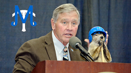 "MTSU Baseball Coach Steve ""Pete"" Peterson introduces ""Raider II,"" the official mascot of the Groundhog Day Luncheon, to the crowd at the February 2012 event. (MTSU file photo by Andy Heidt)"