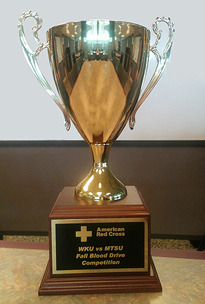 The Fall Blood Drive Competition trophy is once again at home at MTSU after the university's supporters donated 603 pints of whole blood Oct. 29-31 to win the competition with Western Kentucky for the sixth time since 2010. (MTSU file photo by News and Media Relations)