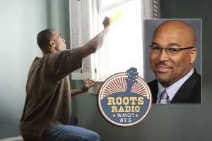 An African American man replaces a window in his home in this file photo from the Center for Disease Control's Public Health Image Library. A photo of MTSU history professor Louis Woods and the logo for WMOT-FM are superimposed over the image. (photo courtesy of the Centers for Disease Control's Public Health Image Library)