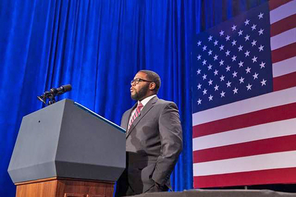 """MTSU graduate student Joshua Crutchfield says introducing President Barack Obama on Feb. 25 in Washington, D.C., as part of The Organizing Summit held by the nonprofit Organizing for Action was """"an amazing experience."""" (Photo by MTSU News and Media Relations)"""