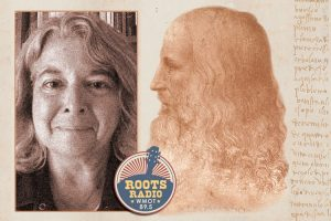 Dr. Paula Findlen, professor of early modern Europe and the history of science at Stanford University, left, and Leonardo da Vinci at right with the WMOT-FM Roots Radio 89.5 logo