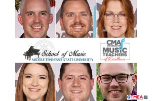 photos of MTSU School of Music alumni John David Hazlett, Michael Holland, Susan Waters, Anna Laura Williams, Ben Zolkower and Carter Noblin. The first 5 received 2019 Music Teachers of Excellence awards from the CMA Foundation, and Noblin was named 2019 Outstanding Young Music Educator by the Tennessee Music Educators Association.