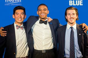 MTSU 2014-15 Student Government President Andrew George, center, poses with immediate past SGA President James Lee, left, and Lee's Alpha Tau Omega fraternity president, Stephen Lessard, right. (Photo courtesy of Andrew George)