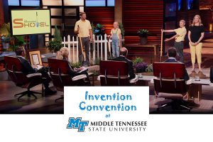 """MTSU Invention Convention participant Maddox Prichard, second from right, now an eighth-grade student at Station Camp Middle School in Gallatin, Tennessee, presents his patented """"Measuring Shovel,"""" a common-sense tool marked with depth measurements to make gardening more precise, to the """"investors"""" on the ABC entrepreneurship reality show """"Shark Tank"""" in an episode that aired in early November. Helping him, from left, are his dad, Jason; his sister, Brenna; and his mom, Amanda. (Photo courtesy of ABC/Disney)"""