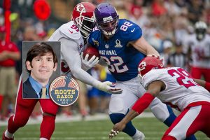 photo of MTSU economics professor Michael Roach and the WMOT-FM Roots Radio 89.5 logo superimposed over a Pixabay file photo of tight end Kyle Rudolph, center, of the Minnesota Vikings fighting off an assault from linebacker Tamba Hali, left, and strong safety Eric Berry, both of the Kansas City Chiefs, during the NFL's 2013 Pro Bowl in Honolulu, Hawaii. (main photo courtesy of Pixabay)