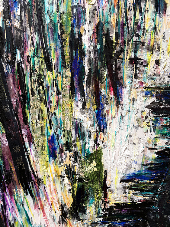 """Moving Mountains,"" a painting created by MTSU art professor Sisavanh Phouthavong-Houghton with Laotian fabric, acrylic and spray paint on canvas, is part of a faculty art exhibit set to open Aug. 24 in the university's Todd Art Gallery. Phouthavong-Houghton is one of more than 20 faculty members whose work will be showcased in the free public exhibit, ""Biennial 2020: A Faculty Exhibition of Art and Design."" (Image courtesy of the artist)"