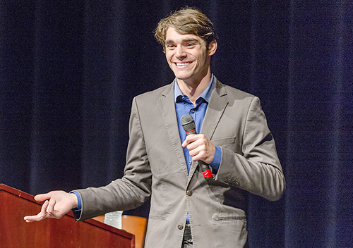 "Actor RJ Mitte of the Emmy-winning television program ""Breaking Bad"" speaks to an audience at MTSU's Tucker Theatre in an Oct. 1 appearance. (MTSU photo by J. Intintoli)"