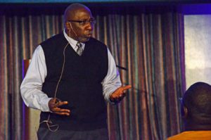 "Anti-domestic violence activist Tony Porter makes his points during ""A Call to Men: The Next Generation of Manhood"" in an Oct. 21 presentation at MTSU. (Photo by MTSU News and Media Relations)"
