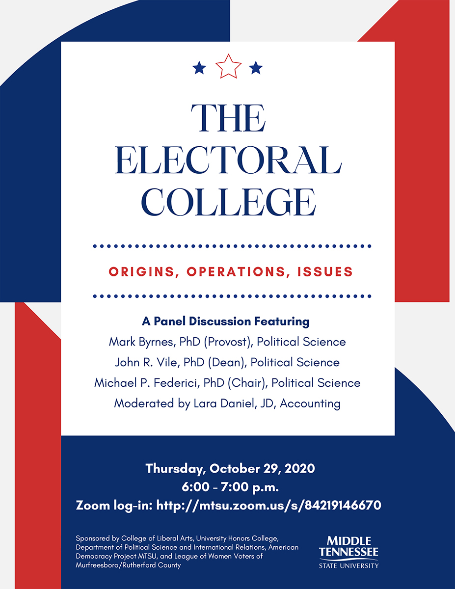 MTSU fall 2020 Electoral College panel discussion flyer