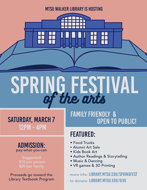 Walker Library 2020 Spring Festival of the Arts poster