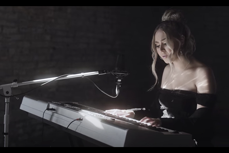 """MTSU senior music business major Jordyn Stoddard performs her original song, """"Easier Said Than Done,"""" in a video that premiered Feb. 3 on the CMT network. The Jacksonville, Fla., native, who has been playing piano and guitar and singing since childhood, released her debut album in 2015. (image courtesy of CMT)"""