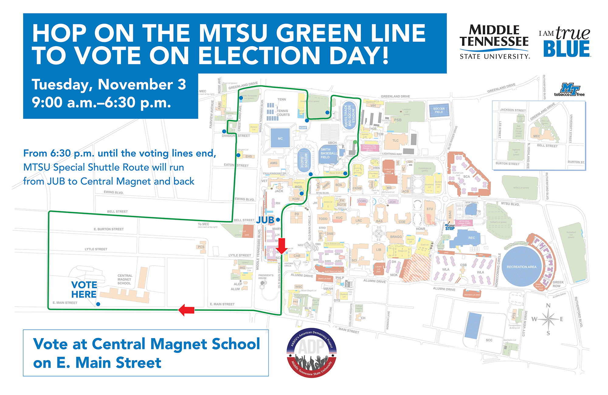 This map of the MTSU campus and a small area east of campus shows the route of a free Election Day 2020 shuttle that will take MTSU voters from the university to Central Magnet School to vote from 9 a.m. to 6:30 p.m. Nov. 3. Click on the map for a closer look.
