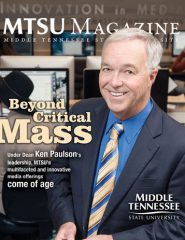 Ken Paulson, dean of the College of Mass Communication, is shown on the cover of the January 2015 edition of MTSU Magazine. (Courtesy of MTSU Creative and Visual Services)