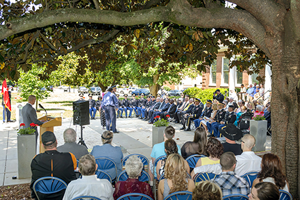 Family and friends and MTSU faculty, staff and administrators attend the spring 2015 ROTC commissioning ceremony Friday, May 8, outside the Tom H. Jackson Building. The military science program commissioned 13 senior cadets as new second lieutenants.