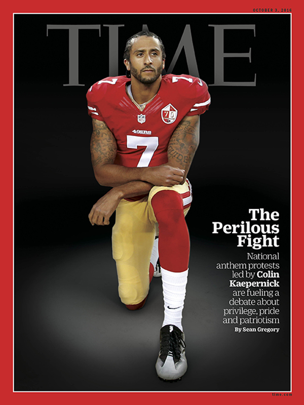 NFL quarterback Colin Kaepernick is depicted on the cover of the Oct. 3, 2016, edition of Time magazine after he and other players began kneeling during the playing of the national anthem at games to protest racism and excessive use of force by police. (Cover courtesy of Time magazine)