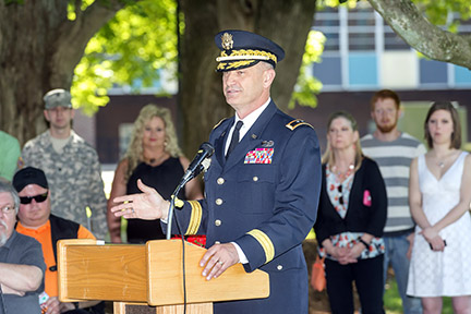 Maj. Gen. Jeff Holmes delivers the ROTC commissioning ceremony address Friday, May 8, at the MTSU Veterans Memorial site.