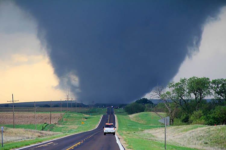 A tornado, later rated by the National Weather Service as an EF4, approaches Marquette, Kansas, on April 14, 2012, a day when several violent tornadoes touched down across Kansas. (File photo courtesy of National Weather Service)
