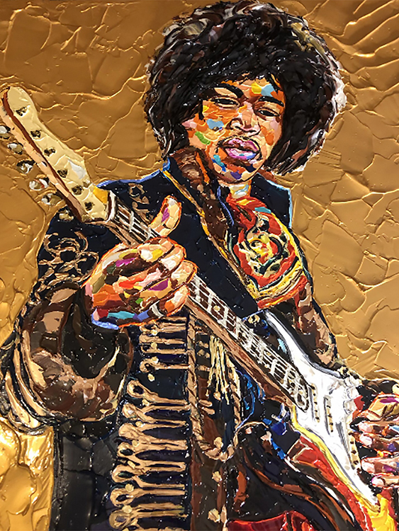 Nashville artist James Threalkill's acrylic on canvas image of rock legend Jimi Hendrix pays tribute to the musician's local ties, revolutionary impact on the music industry and vibrant persona. Threalkill is one of the artists included in new dual collaborative exhibits,