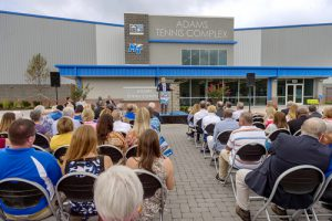 MTSU Athletics Director Chris Massaro speaks Wednesday, July 15, during the dedication of the Adams Indoor Tennis Complex at Old Fort Park. (MTSU photo by J. Intintoli)