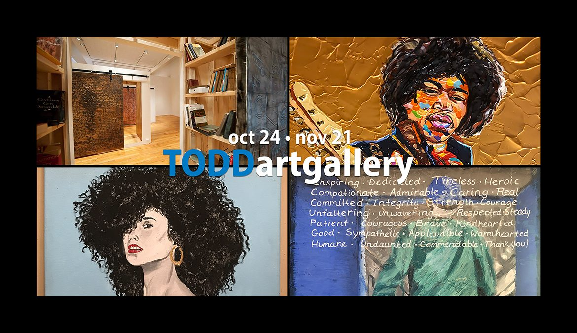 Works of art created by, clockwise from upper left, Nashville artists Jamaal Sheats and James Threalkill, Murfreesboro artist Ginny Togrye and Nashville artist Jason A. Watkins are part of new dual collaborative exhibits,