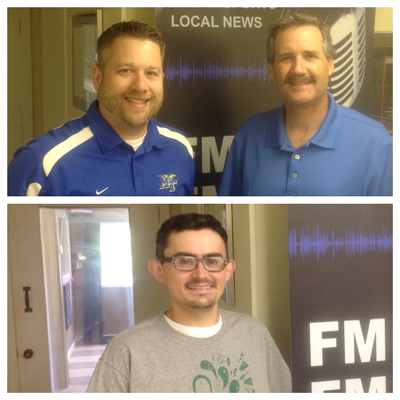 """MTSU guests on the July 20 WGNS """"Action Line"""" program included above, left to right: Paul Wydra, assistant director in the Office of Alumni Relations, and Dr. Tim Graeff, director of the MTSU Office of Consumer Research, and below, Jason Manley, alumnus and volunteer at the 13th annual Southern Girls Rock & Roll Camp. (MTSU photo illustration)"""