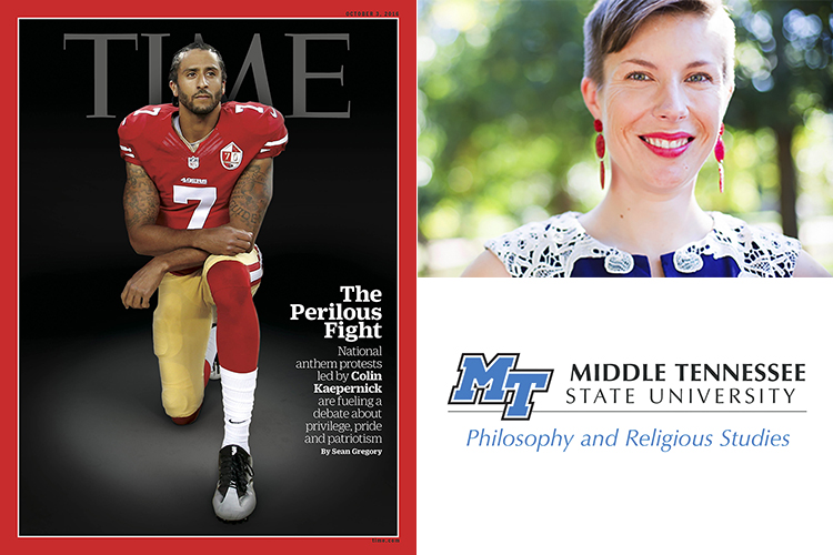 NFL player Colin Kaepernick on the cover of the Oct. 3, 2016, issue of Time magazine, with guest lecturer Dr. Erin C. Tarver, associate professor of philosophy at the Oxford College of Emory University, and the MTSU Department of Philosophy and Religious Studies logo