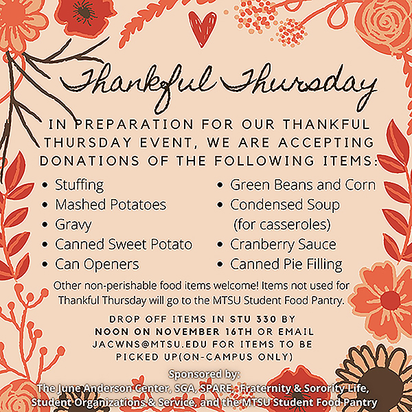 "MTSU ""Thankful Thursday"" food drive graphic"