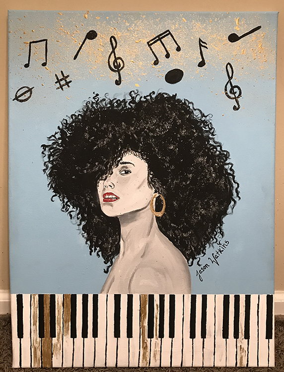"Nashville native and artist Jason A. Watkins, who's also an MTSU freshman majoring in speech-language pathology and audiology, offers his interpretation of multi-Grammy-winning musician Alicia Keys in this acrylic on canvas, ""Unthinkable."" Watkins is one of the artists included in new dual collaborative exhibits, ""Collective Memories: Creative Expressions Through Contemporary Art"" and ""Words to Live By,"" on display at MTSU's Todd Art Gallery Oct. 24-Nov. 21. (image courtesy of Jason A. Watkins)"