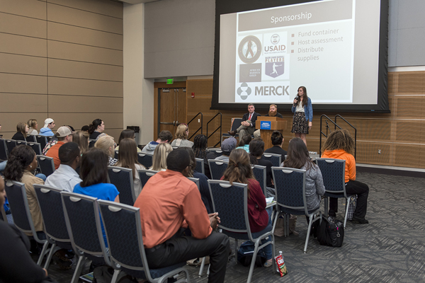 "Lindsay Moore from Project C.U.R.E. speaks to students during a session on ""Working Across Borders,"" held April 5 at MTSU's third annual Nonprofit & Social Innovation Student Summit. (MTSU file photo by Andy Heidt)"