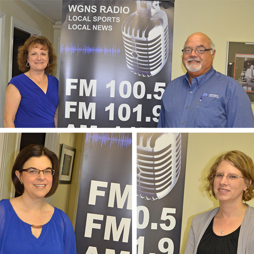"""MTSU faculty and staff pause for photos after appearing on the Monday, June 20, """"Action Line"""" program on WGNS Radio. Guests on the show included, clockwise from top left, Drs. Peggy Carpenter and David Gotcher of MTSU's University College; Dr. Dawn McCormack from the College of Liberal Arts; and Christy Davis, the new director of the Ann Campbell Early Learning Center. (MTSU photo illustration)"""