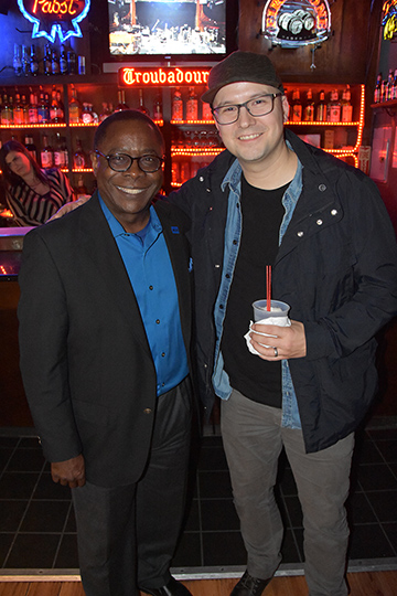 MTSU President Sidney A. McPhee, left, poses with Grammy-winner and alumnus Luke Laird at a reception Saturday before Americana Music Association and MTSU's concert honoring Loretta Lynn at the Troubadour in West Hollywood, Calif. (MTSU photo by Andrew Oppmann)