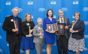 Distinguished Alumni and True Blue Citations of Distinction Awards in the Ingram Building. 2016 Distinguished Alumni Award recipients, from left, Dan Pfeifer, True Blue Citation of Distinction Achievement in Education, Helen Campbell, True Blue Citations of Distinction Achievement in Education, Cynthia Chappell, David Cullum Award for Service to the University, Bobbie Jo Meredith, Young Alumni Achievement Award, Jeff Creek, Distinguished Alumnus, and Libby Green, Service to the Community Award.