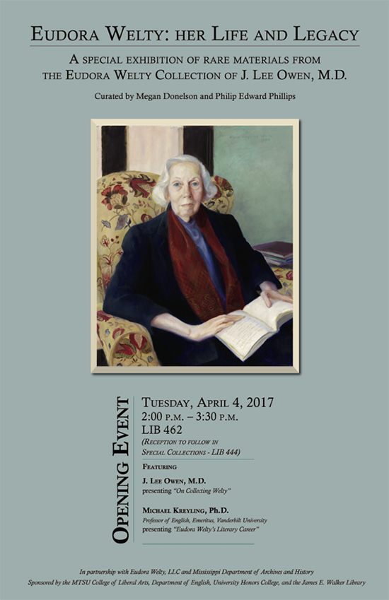 "This flier from the 2017 Eudora Welty exhibit at MTSU's James E. Walker Library lists some of the items included in a Murfreesboro physican's ""priceless"" literary collection."