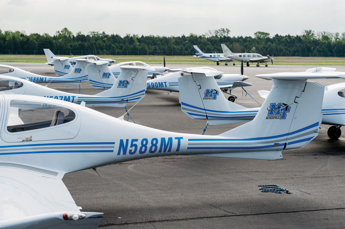 This 2017 file photo shows part of the fleet of MTSU Aerospace Department planes at Murfreesboro Airport. (MTSU file photo)