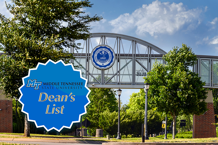 image of MTSU's pedestrian bridge in summer connecting the Student Union and the Student Services and Admissions Center with the MTSU Dean's List badge superimposed onto it (MTSU file photo by J. Intintoli)