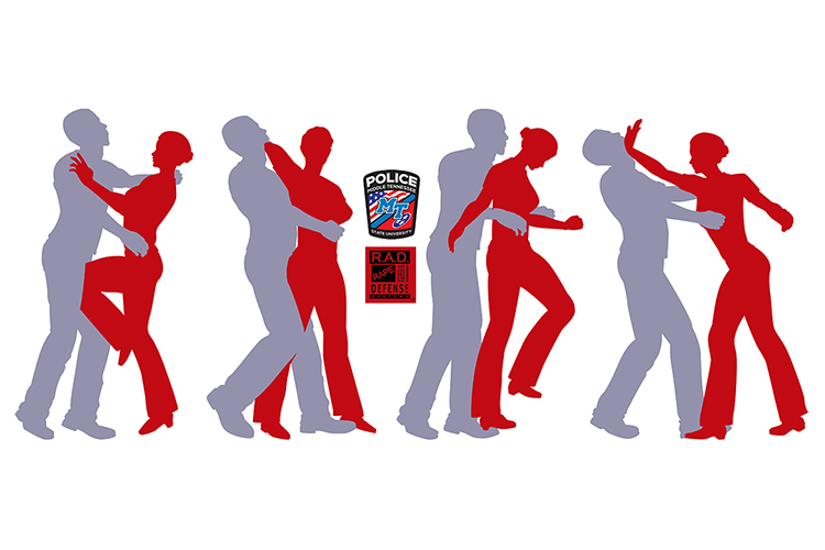 RAD (Rape Aggression Defense) self-defense course graphic depicting silhouetted female using self-defense against silhouetted male with MTSU Police Department and RAD logos