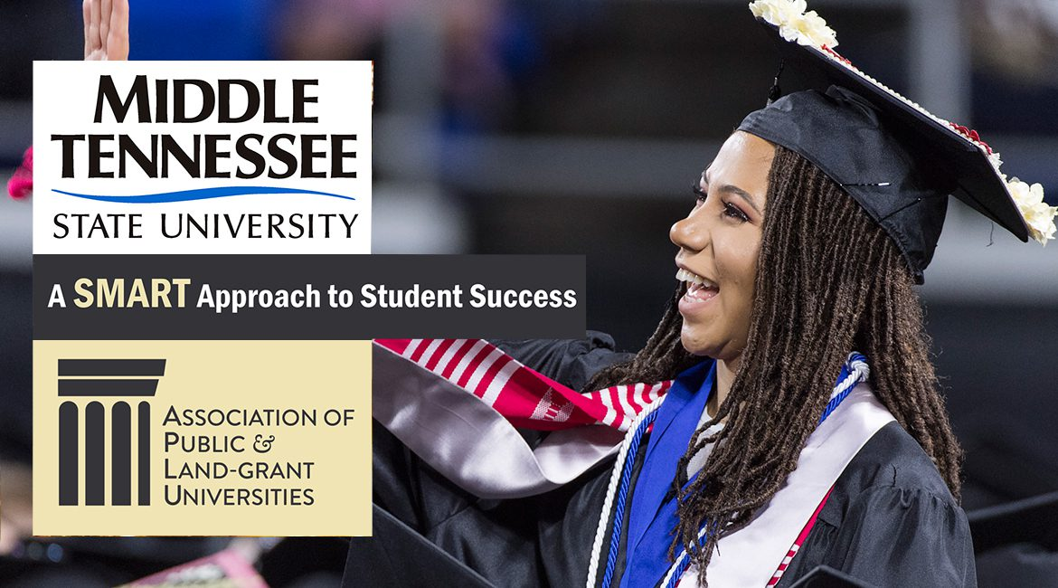 APLU SMART Success program graphic including waving spring 2017 undergrad at commencement