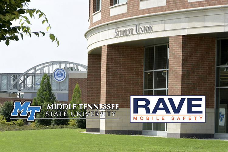 File summer image with the MTSU Student Union in the foreground and the pedestrian bridge over Blue Raider Boulevard in the background. The MT and Rave Mobile Safety logos are superimposed onto the photo. (MTSU file photo by J. Intintoli)