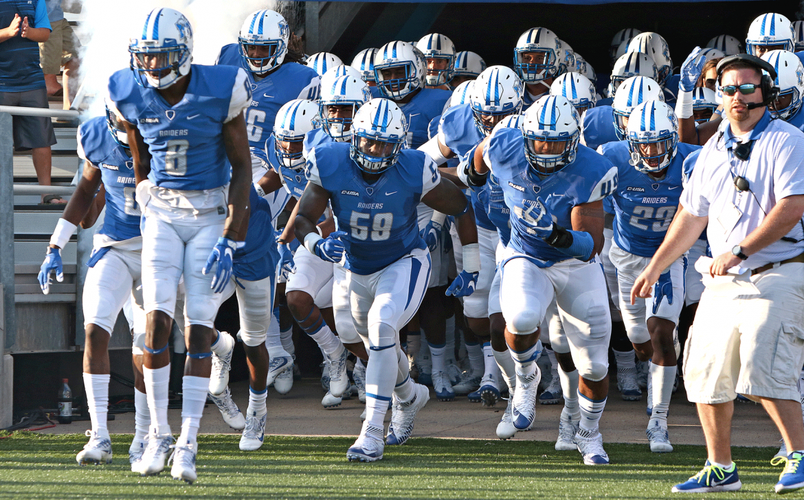 MTSU Football team enters stadium in a rush