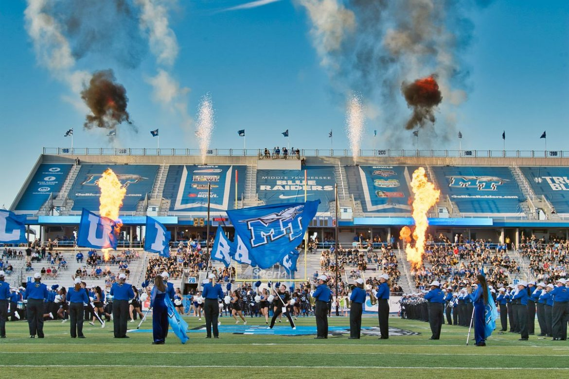 Pregame at Floyd Stadium (MTSU Photo by Andy Heidt)