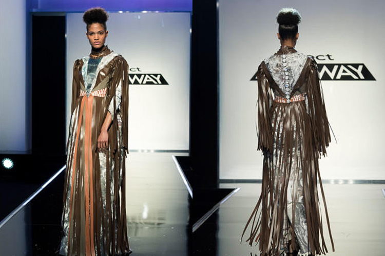 A Project Runway model wears MTSU alumna Ayana Ife's design on the Aug. 24, 2017, episode of the Lifetime network show. Contestants were required to create fashions from recycled materials, and Ife used newspaper, fabric scraps, vinyl fringe and bottle-cap buttons for her gown. (Photo courtesy of Barbara Nitke/Lifetime)