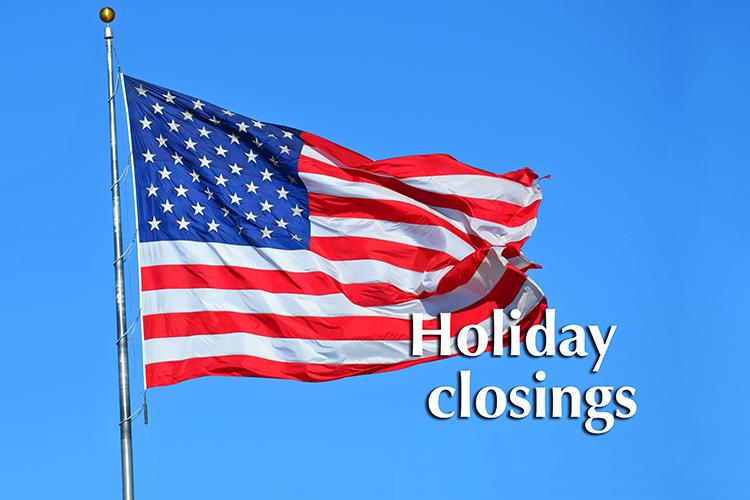 Holiday closing graphic