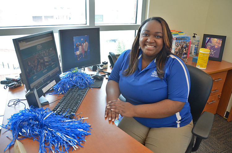 Courtney Brandon, 2017-18 president of the MTSU Student Government Association, is shown inside the SGA offices in the Student Union Building. (MTSU photo by Jayla Jackson)