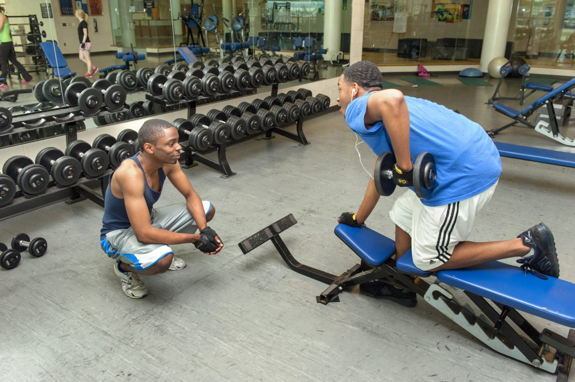 Students working out at the MT Rec Center