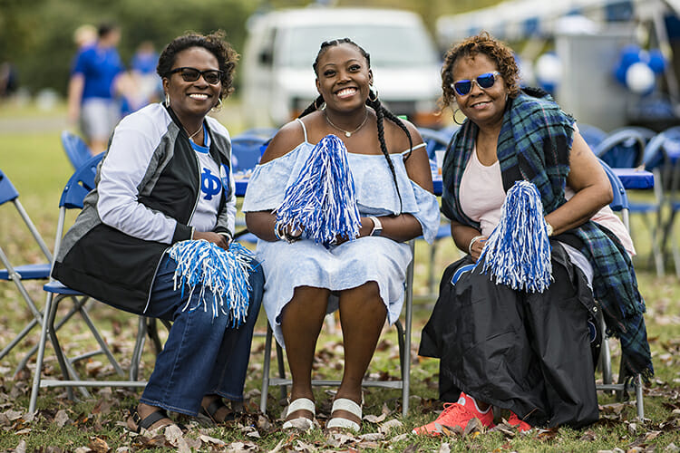 Alumni, family and friends enjoy homecoming festivities.