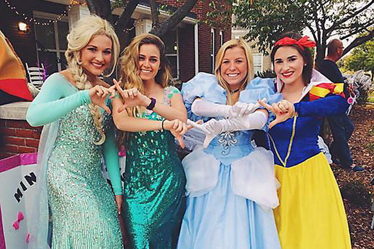 Costumed sorority sisters from MTSU's chapter of Chi Omega pose at the 2016 Trick or Treat on Greek Row. The 2017 event is slated for Monday, Oct. 30, and is free and open to the public. (Photo courtesy of MTSU College Panhellenic Council)