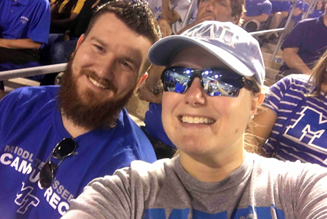 MTSU alumna Danielle Boyd-Garrett, right, and her husband, David, are shown in this recent photo. Danielle has received two blood transfusions to combat a genetic condition and now volunteers to encourage others to donate blood. (Photo courtesy of Danielle Boyd-Garrett)