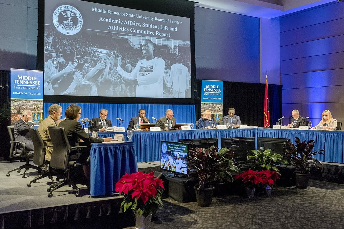 The MTSU Board of Trustees go through their agenda during their Dec. 5 meeting in the MTSU Student Union Ballroom. (MTSU photo by J. Intintoli)